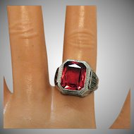 Art Deco Vintage Red Glass Cushion Cut Sterling Silver Ring Unisex