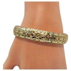 Rare Antique Signed Totten-Sommer Company Victorian Gold Etched Bangle Bracelet