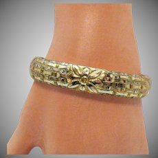 Rare Antique Signed Totten-Sommer Company Victorian Gold Etched Bangle Bracelet