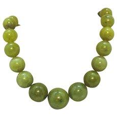 Signed DTR Desert Rose Trading Sterling Silver Vintage Olive Green Beaded Jade Necklace