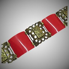 Art Deco Vintage Estate Brass Red Plastic Panel Bracelet