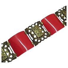 Art Deco Vintage Estate Brass Red Plastic Panel Bracelet