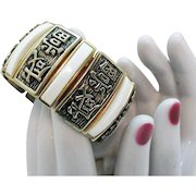 Vintage Asian Character Metal Expansion Bracelet White Thermoset Insets