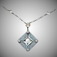 Art Deco Era Vintage Crystal Rhinestone Filigree Rhodium Necklace Paper Clip Chain