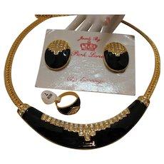 Signed Jewels by Park Lane Vintage Italian Designed Pave Enameled Parure Necklace Ring Earrings Set UNWORN