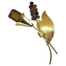 Signed Coro Gold Over Sterling Silver 925 Citrine Rhinestone Flower Brooch