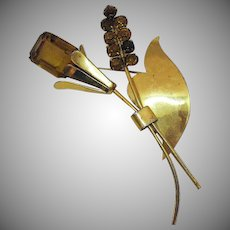 Signed Coro Sterling Citrine Rhinestone Flower Brooch