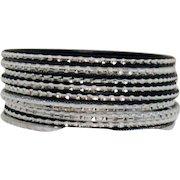 Awesome Vintage Set of 9 Black Silver Etched Aluminum Bangle Bracelets