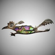 Signed Taxco Mexico Sterling Silver Eagle Mark 3 Abalone Inlay Roadrunner Brooch