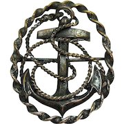 Vintage Pot Metal Mariners Cross USN WW 2 Military Brooch
