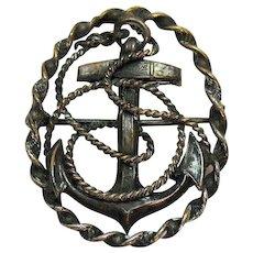 Vintage Pot Metal Mariners Cross USN WW 2 Military Brooch