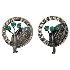 Very Old Signed Sterling Silver Emerald Glass Stone Mexican Screw Back Earrings FREE SHIPPING