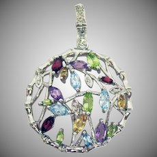 Signed EA 925 Vintage Marquise Gemstone Bamboo Asian Thyme Sterling Silver Pendant