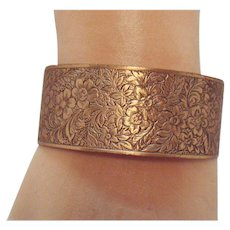 Vintage Copper Intricately Etched Floral Cuff Bracelet
