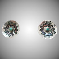 Vintage Native America Indian Sterling Silver Turquoise Pierced Earrings Mixed Metals