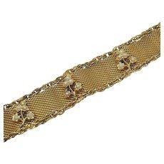 Signed Goldette Vintage Mesh Chain Glass Pearl Bracelet
