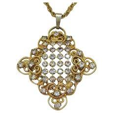 Vintage Juliana D&E Heart Scroll Rhinestone Necklace