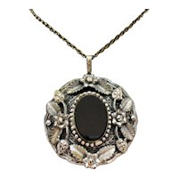 50% Off Bold Vintage Black Glass Overlay Floral Marcasite Pendant Necklace FREE SHIPPING