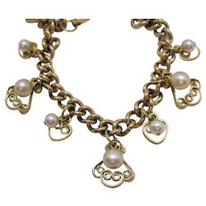 Awesome Vintage Heart Scroll Faux Pearl Charm Bracelet
