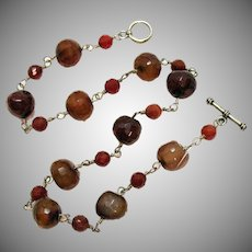 Gorgeous Vintage Sterling Silver Baltic Amber Beaded Necklace 47.3 Grams