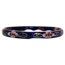 Vintage Cobalt Blue Gilded Enamel Cloisonné Bangle Bracelet Hinged