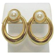 Vintage 1980s Golden Faux Pearl Pierced Earrings