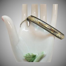Antique Victorian 14K White Gold Hinged Bangle Bracelet Extra Small Chased Organic Design