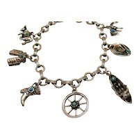 Vintage Costume Jewelry Western Motif Cowgirl Silver Faux Turquoise Charm Bracelet FREE SHIPPING