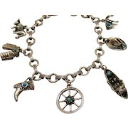Vintage Cowgirl Silver Faux Turquoise Charm Bracelet