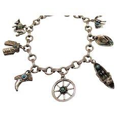 Vintage Cowgirl Silver Faux Turquoise Charm Bracelet