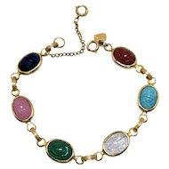 Signed Judy lee Vintage Glass Scarab Bracelet