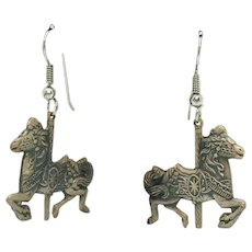 Vintage Sterling Silver Merry-Go-Round Figural Carousel Horse Pierced Earrings