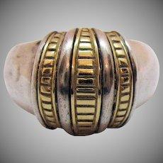 Signed SLV Sadye L Vadssil Vintage Modernist 14K Sterling Silver Dome Band Ring