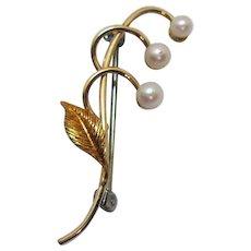 Signed Krementz 14K Gold Vintage Petite Fresh Water Pearl Brooch