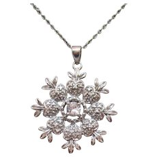 Signed Sterling Silver Vintage Pineapple Heart Cubic Zirconia Pendant Necklace