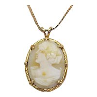 Vintage Signed 14K Italy *405 AR Angel Skin Coral Gold Cameo Pendant Necklace FREE SHIPPING