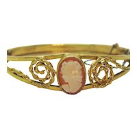 Signed Russel Vintage 12K Gold Filled Shell Cameo Hinged Bracelet FREE SHIPPING