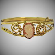 Signed Russel Vintage 12K Gold Filled Shell Cameo Hinged Bracelet