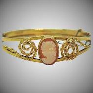 Signed Russel Vintage 12K Gold Filled Shell Cameo Hinged Bracelet