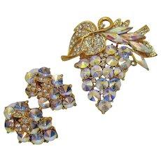 Exquisite Vintage Poly Chromatic Rivoli Rhinestone Tiered Brooch Pierced Earrings Set