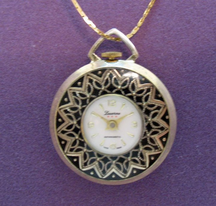 Helpful Mid Century Modern Lucerne Swiss Wind Up Watch W/ Chain Pendant Necklace High Quality Mother & Kids