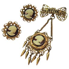 Victorian Revival Vintage Bow Drop Glass Cameo Fringed Brooch Earrings Set