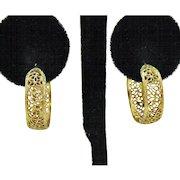 Signed A & Z Gorgeous Vintage Filigree 12K Gold Filled Pierced Hoop Earrings