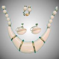Fresh Vintage Signed Napier Shiny White Lucite Necklace Earrings Set