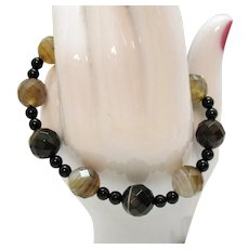 Gorgeous Vintage Banded Agate Gemstone Faceted Beads Stretch Bracelet