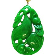 Unusual Massive Vintage Faux Green Jade Lucite Bird in the Jungle Pendant Necklace