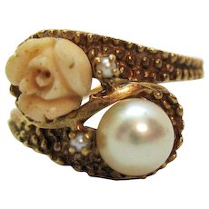 Signed S Vintage 10K Yellow Gold Carved Angel Skin Coral Rose Cultured Pearl Ring