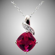 Stunning Vintage Cushion Cut Lab Created Ruby Diamond Pendant Sterling Silver Necklace