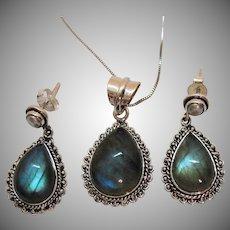 Beautiful Vintage Sterling Silver Labradorite Gemstone Necklace Cultured Pearl Pierced Earrings Set Italy