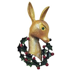 Vintage Copper Rose Gold Plated Christmas Reindeer Head Brooch Enameled Rhinestones